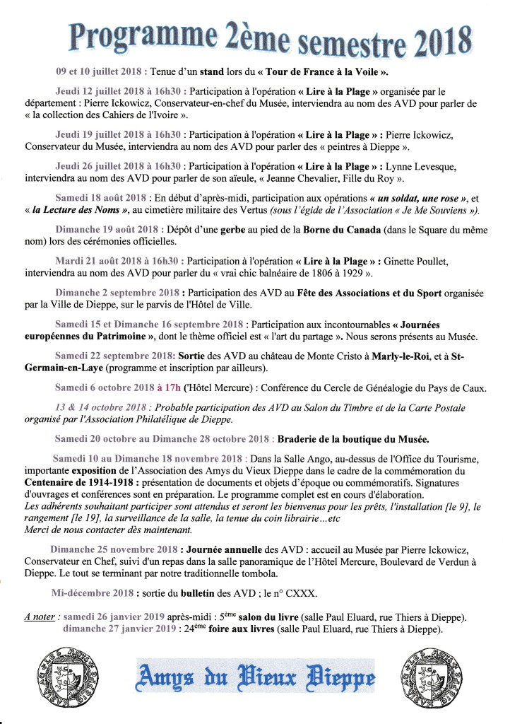 programme  2e semestre 2018