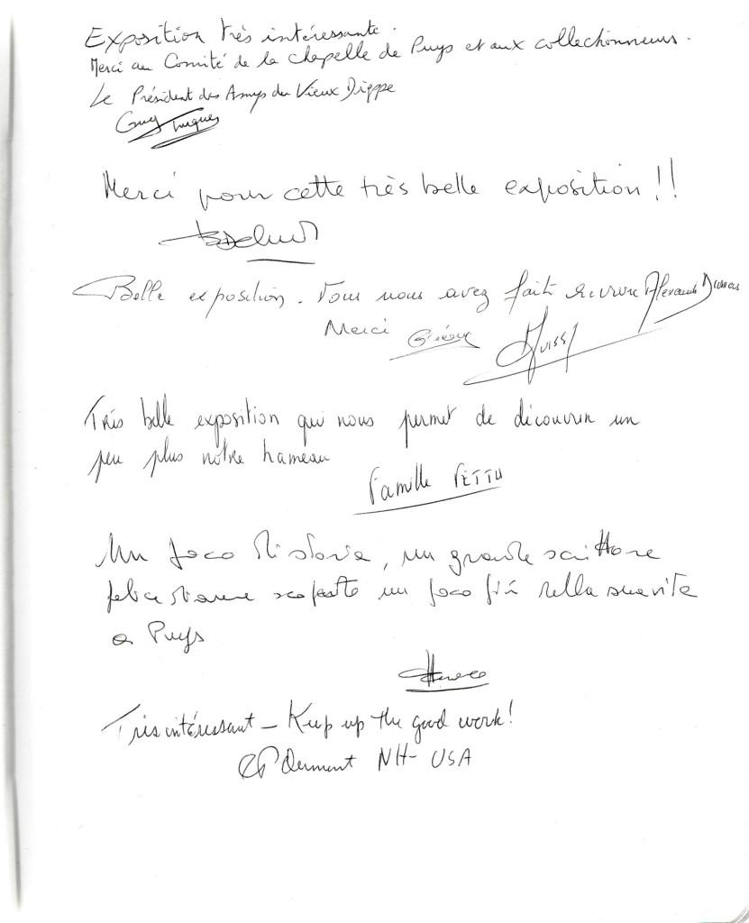 une page du Livre d'Or